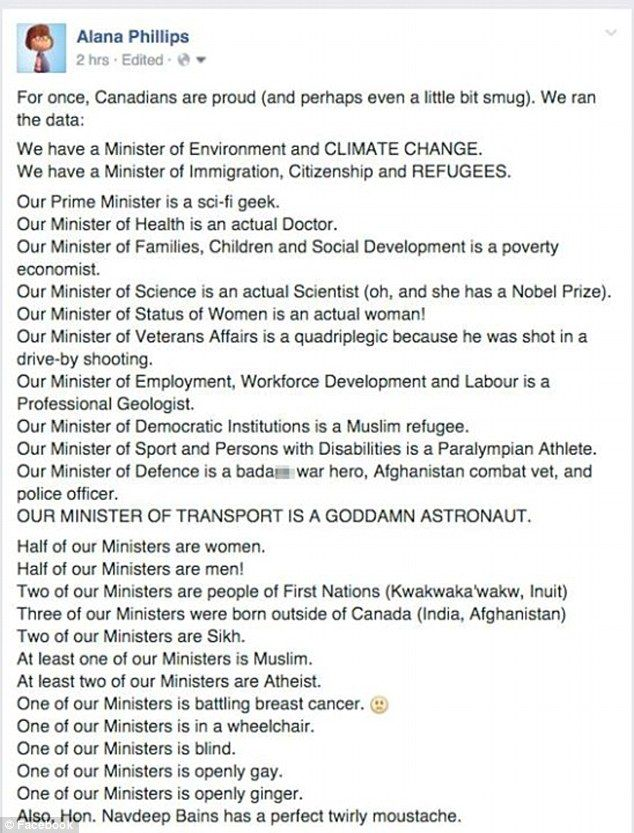 Smugu0027 Canadian lists reasons why her countryu0027s cabinet is great - new letter to minister format australia