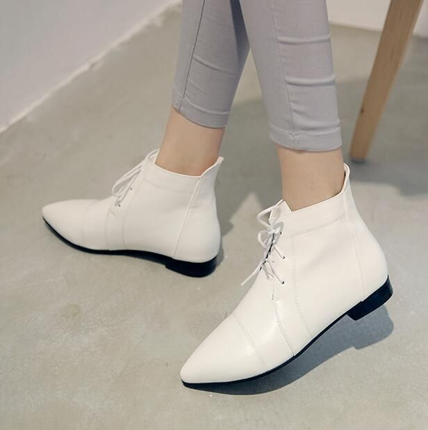 Womens Lace Up Ankle Shoes Ladies Low Heel Casual Zipper PU Leather Martin Shoes