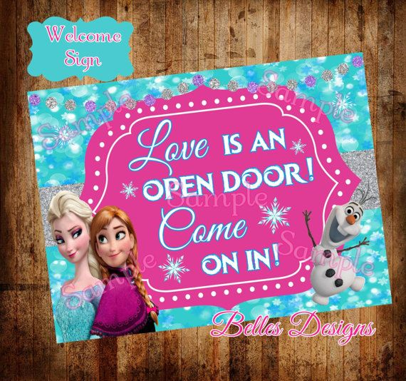 Love Is An Open Door Welcome Sign Frozen Welcome Sign Frozen Frozen Birthday Banner Welcome Sign Party Entrance