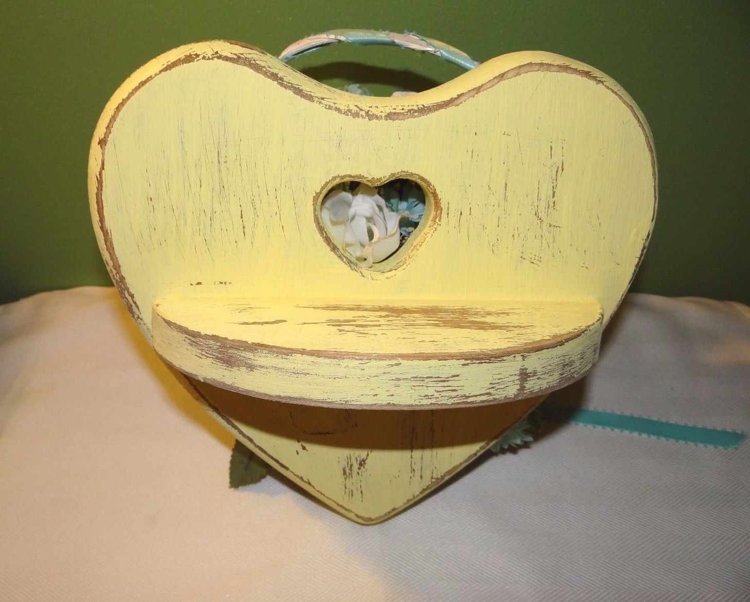 Yellow distressed wood heart shelf, reclaimed wood, knotted wood ...