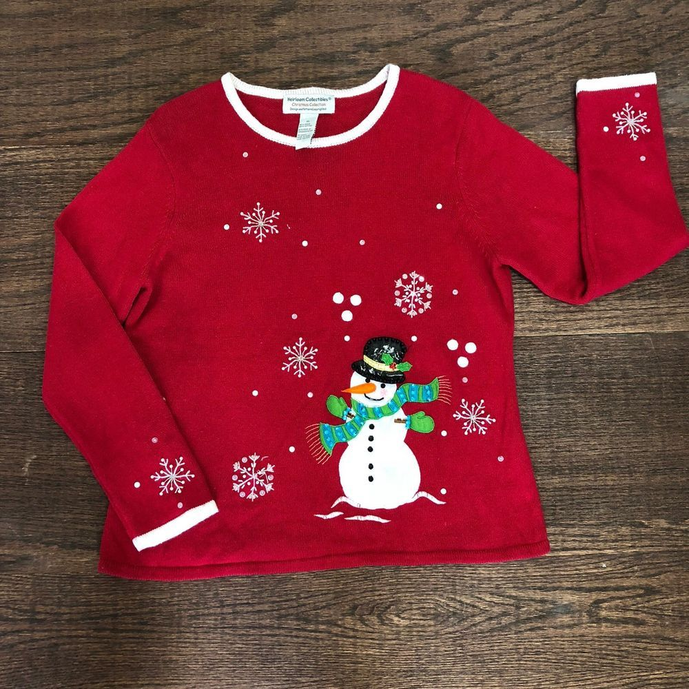 heirloom collectibles womens ugly christmas sweater size xl red wsnowmen 004 fashion clothing shoes accessories womensclothing sweaters ebay link - Ugly Christmas Sweater Ebay