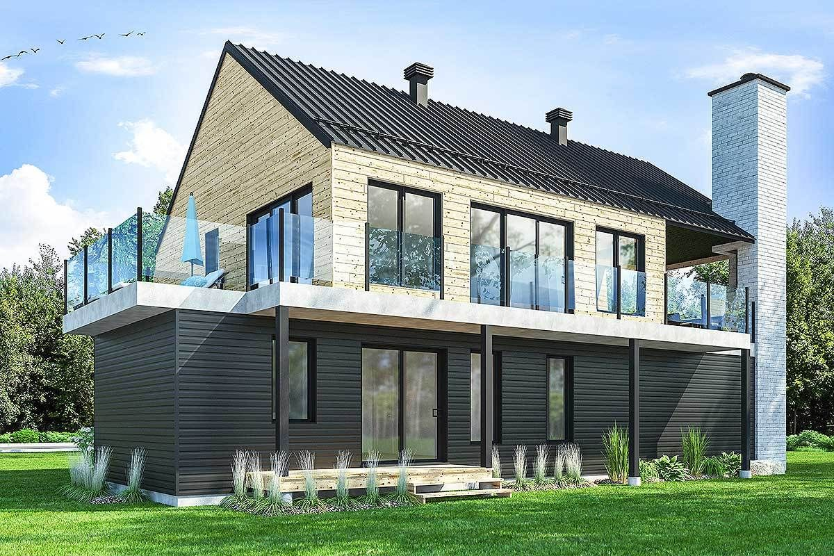 Plan 22490dr Modern Barndominium With Huge Deck And Upside Down Layout Rustic House Plans Contemporary Style Homes Rustic House