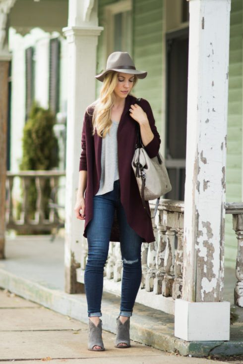 5ba047c55e long burgundy cardigan-with-distressed-denim-gray-suede-peep-toe-booties- gray-and-burgundy-fall-outfit