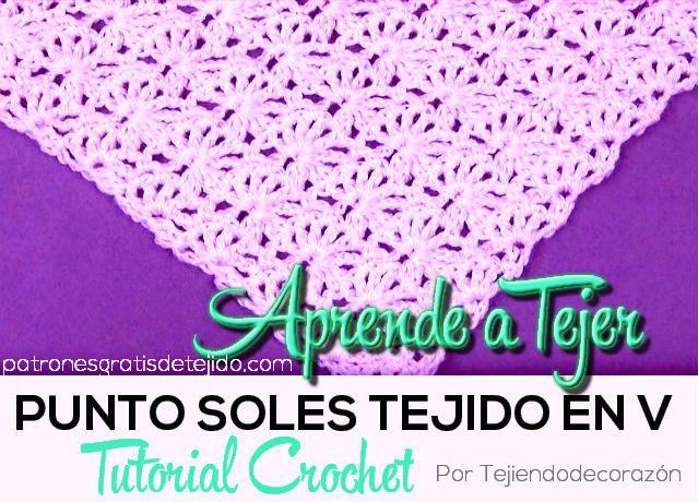 Cómo tejer el Punto Soles ganchillo | pequeñas muestras crochet ...