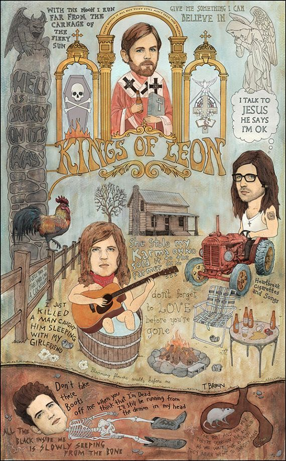 Kings Of Leon Back Down South 20 x 30 by TRAVISBRAUN on Etsy, $95.00 ...