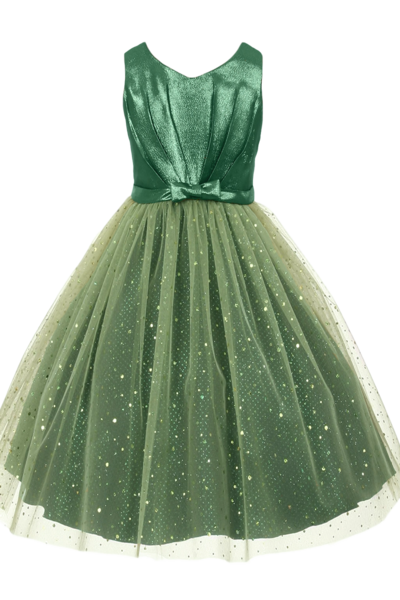 ce258873b8d Emerald Green Sparkle Tulle & Satin Girls Formal Occasion Dress (352 ...