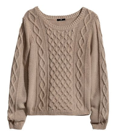 Taupe. Purl-knit sweater with cable-knit pattern at front and on ...