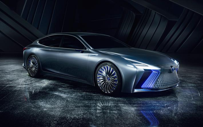 Download Wallpapers Lexus Ls Concept 2018 Front View Futuristic Design Luxury Sedan New Cars Japanese Cars Lexus Besthqwallpapers Com Konsept Arabalar Otomobil Luks