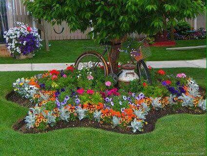 Hermoso Jardin Con Flores De Colores Landscaping Around Trees Flower Garden Beautiful Gardens