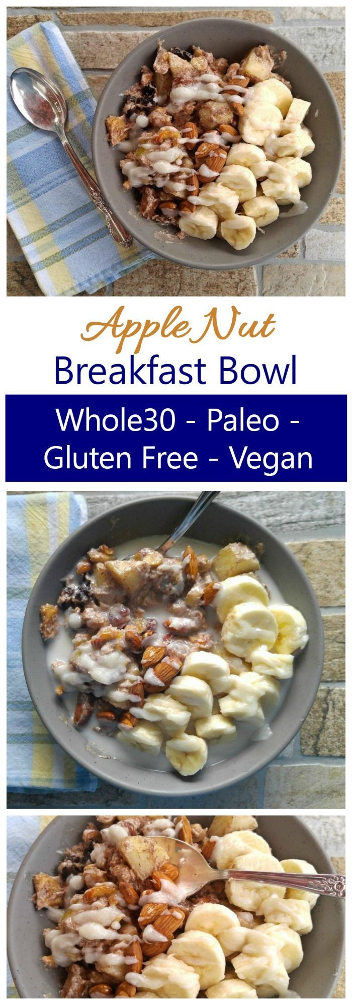 Breakfast Bowl - Paleo Gluten Free Breakfast Recipe without Eggs This Whole30 Breakfast Bowl is a warm bowl of healthy ingredients. It's also Paleo, Vegan, Dairy Free and Gluten Free. So filling and tasty!This Whole30 Breakfast Bowl is a warm bowl of healthy ingredients. It's also Paleo, Vegan, Dairy Free and Gluten Free. So filling and tasty!