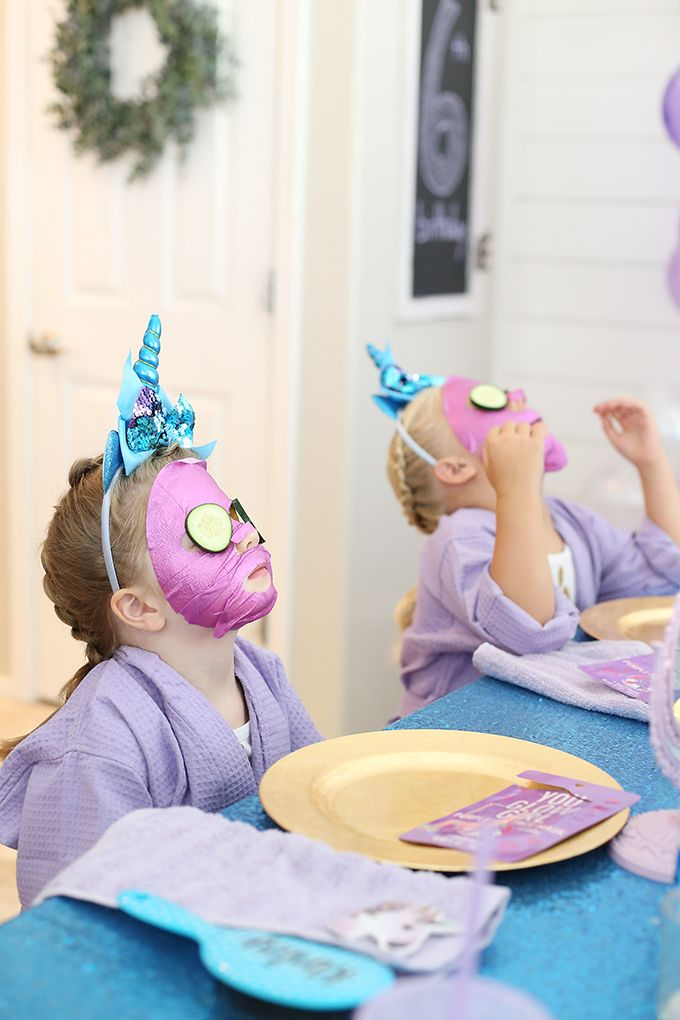 At Home Unicorn Spa Birthday Party - Spa birthday, Spa birthday parties, Girls birthday party themes, Kids spa party, Spa birthday cake, Spa day party - Plan an at home unicorn spa birthday party for girls with these tips and tricks! Do pedicures, manicures, facials and offer a braid bar  Kids will love it!