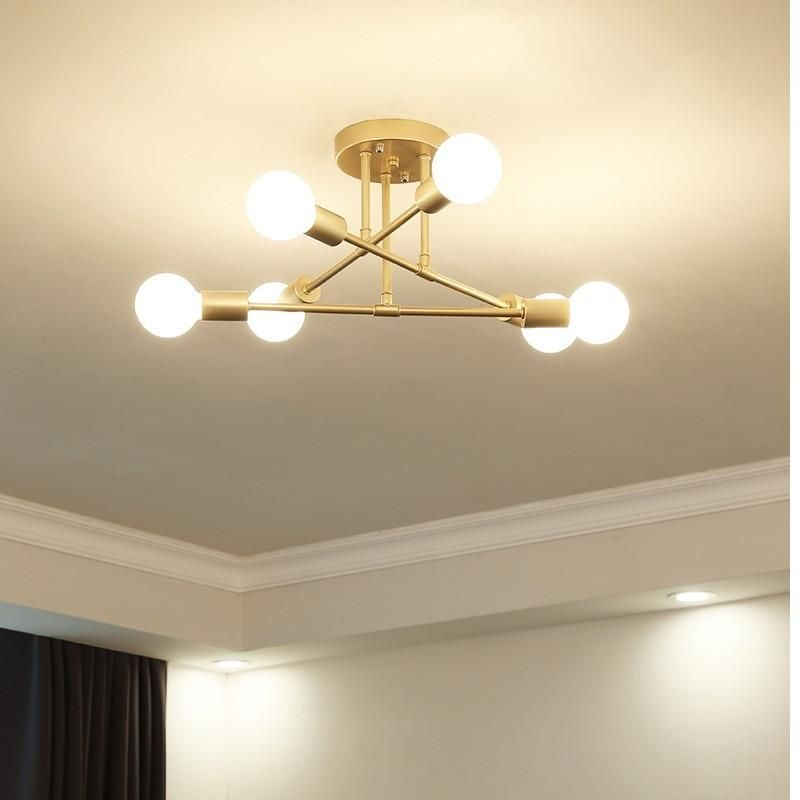Seiza II 6-Light Mid-Century Modern Sputnik LED Ceiling Chandelier – Available in Black, Gold & White