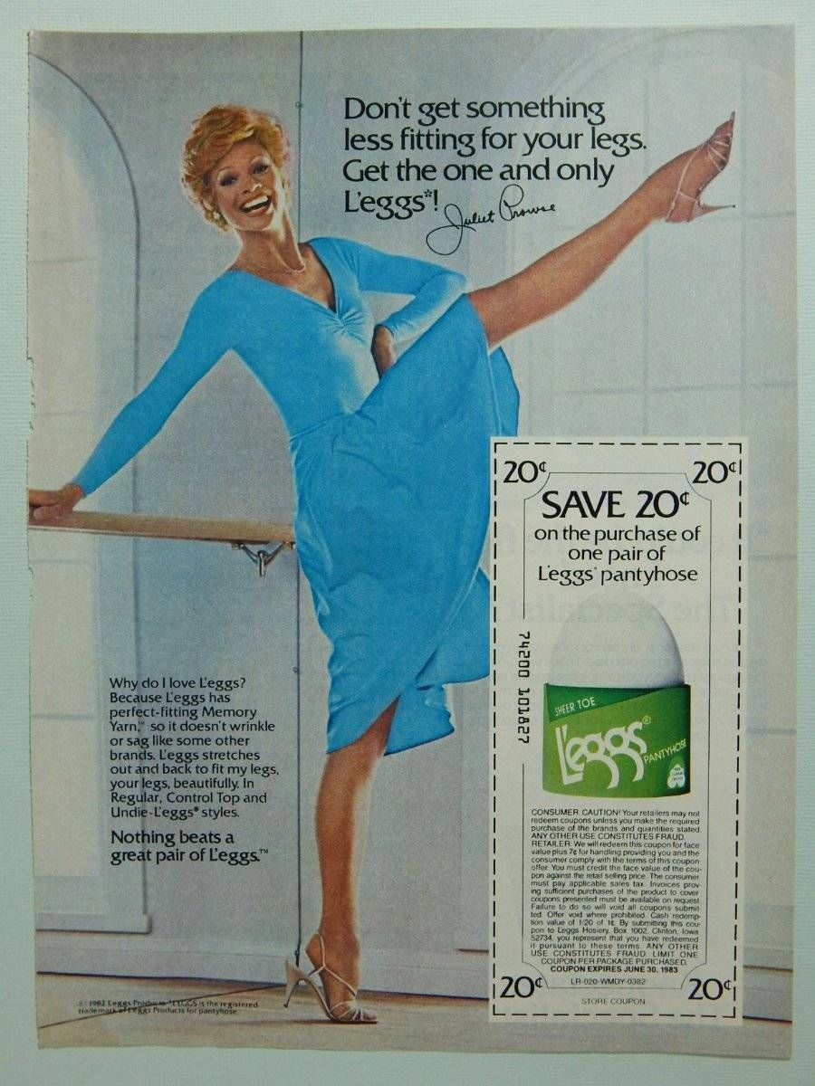 f4e54824c71 1982 L eggs Leggs Pantyhose - Vintage Ad Page - Actress Dancer Juliet Prowse