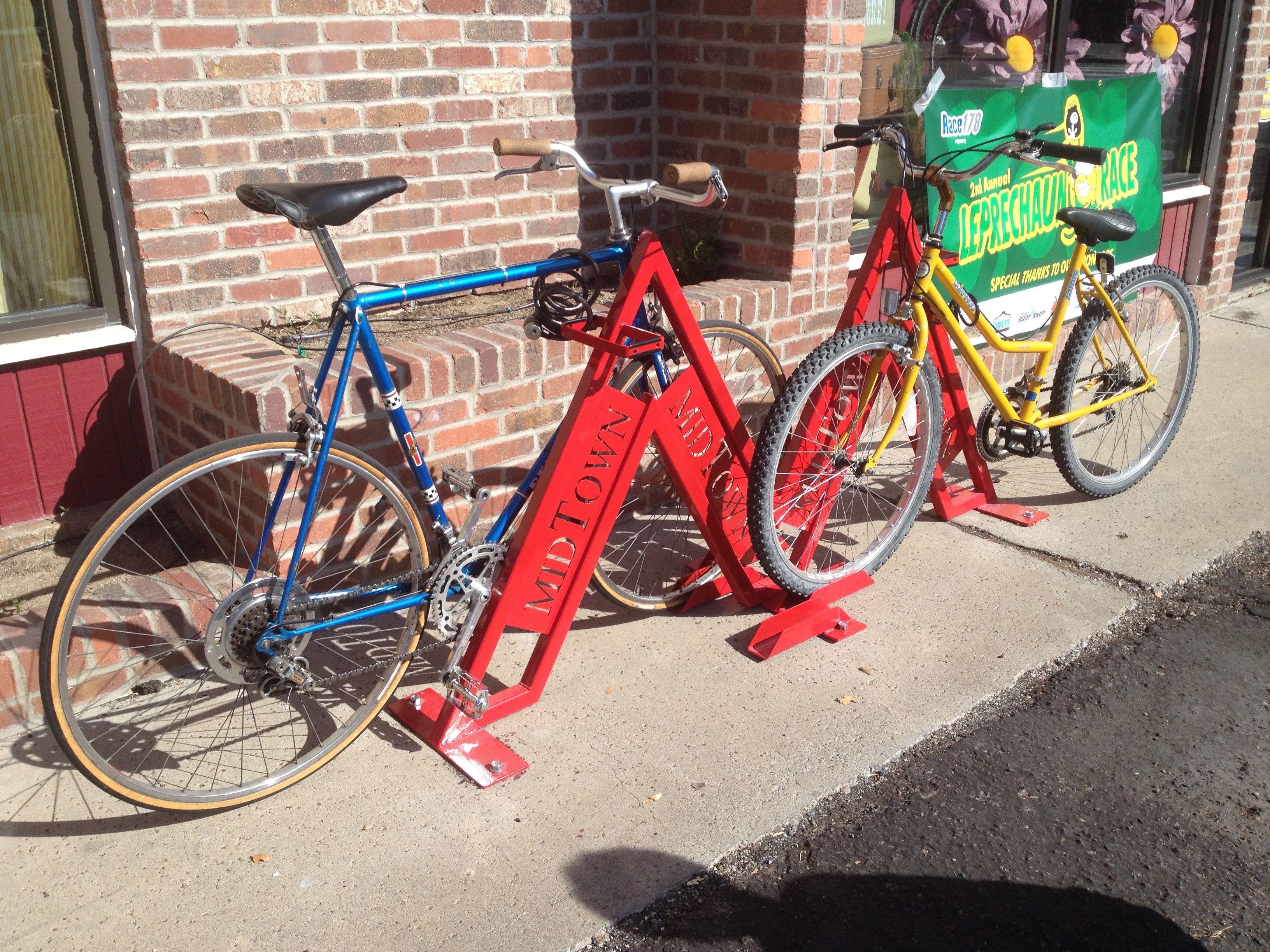 Custom red bike racks found in Midtown Reno, Nevada in front of ...