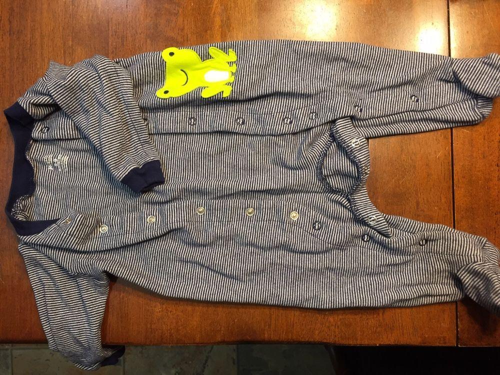 Carters full body with footsie pajamas navy bluewhite