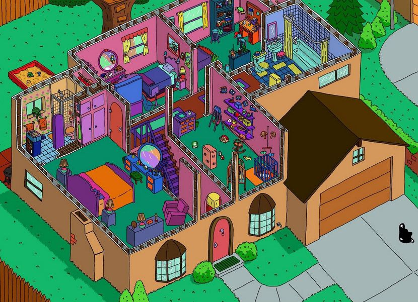 the-simpsons-house-interior-cross-section | sims 3 | pinterest