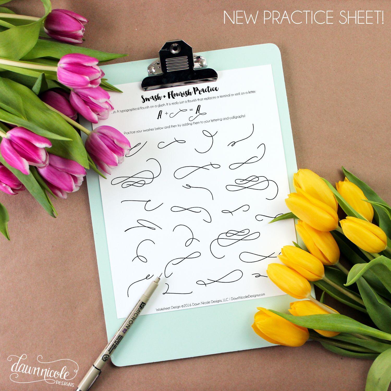 Hand Lettering Free Swash Practice Worksheet