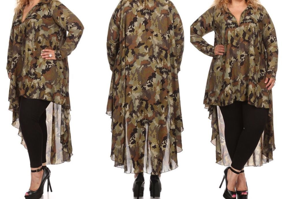 ad49db75b4f33 New Sheer Plus Size High Low Camouflage Blouse Or Mini Dress Size 3X ...