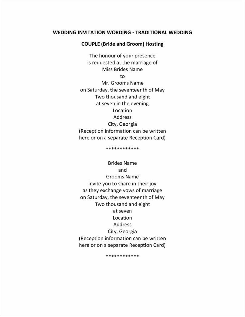 Traditional Wedding Invitation Wording Couple Wedding Invitation Traditional Wedding Invitations