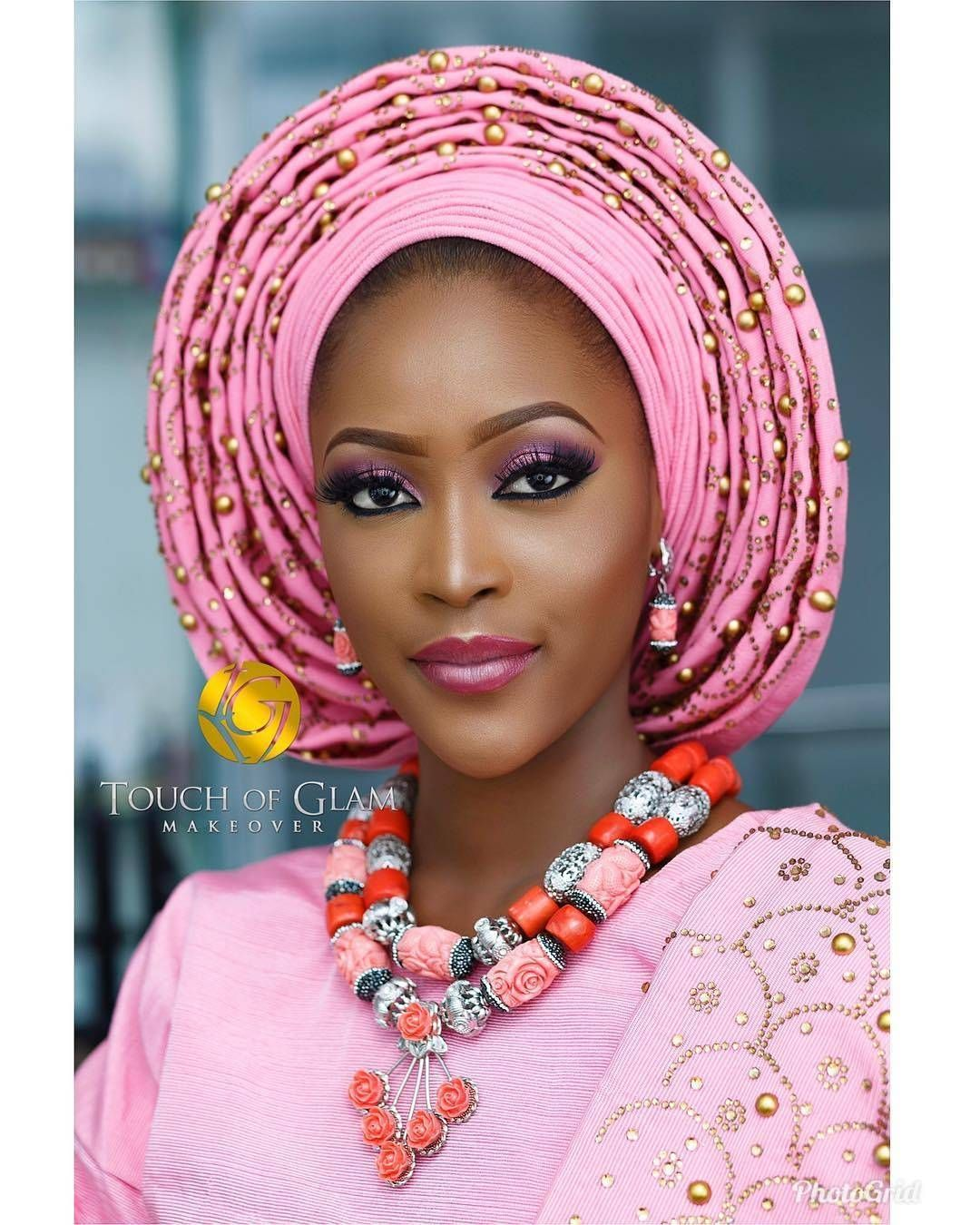 Glam by  @touchofglammakeover - 💗💗Cute Titoh @titoh_berry  Asooke @oyiz_asooke  Beads @fab_and_stylish