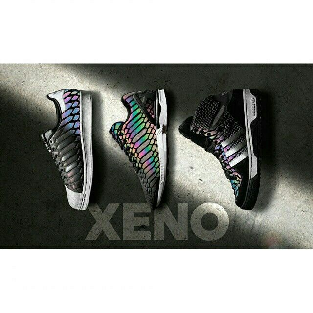 "The adidas Originals ""XENO"" Collection is inspired by the Xenopeltis snake found in East Asia. It is recognized for its highly iridescent scales.  Featuring the ZX Flux, Superstar and Metro Attitude, all three silhouettes sport a tonal black snakeskin material on the upper that completely transforms when exposed to light resulting in a rainbow-like spectrum.  Visit KicksOnFire.com to find out when they release."