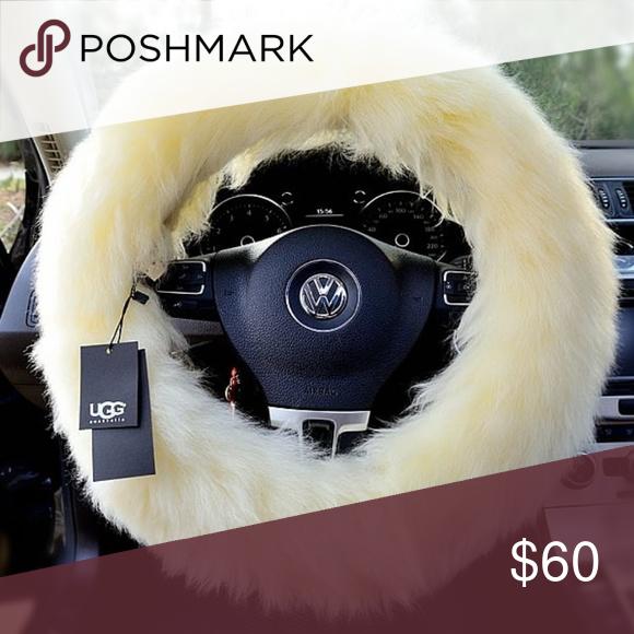 3Pcs//Set Pink Plush Car Steering Wheel Cover Gear Shift Handbrake Cover Decor OS