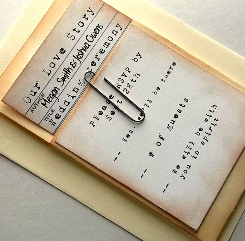 Library Wedding Invitation Suite Pocket Rsvp Card Vintage Typewriter Font