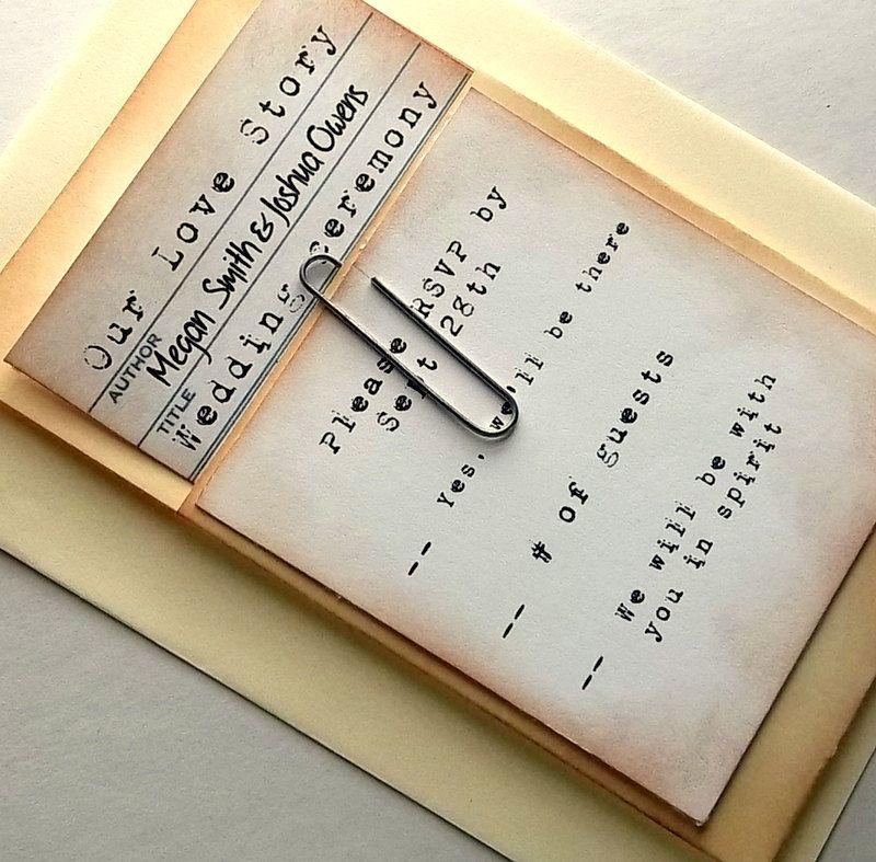 library wedding invitation suite, pocket, rsvp, card, vintage, Wedding invitations