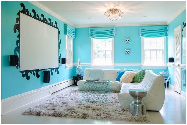A Fresh Aqua and White Living Room