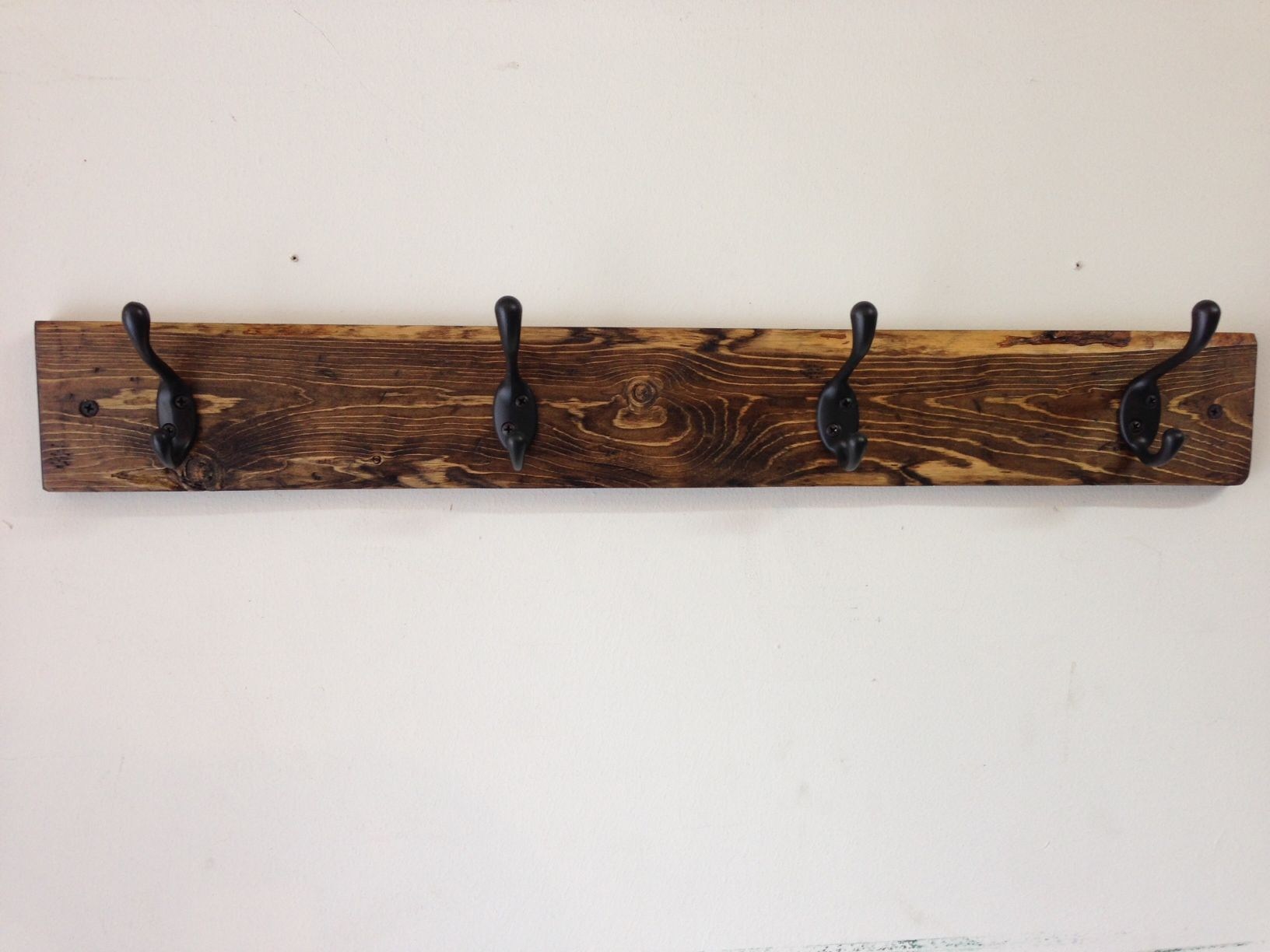 Handmade Rustic Distressed Coat Hook Rack With 4 Hooks Made From