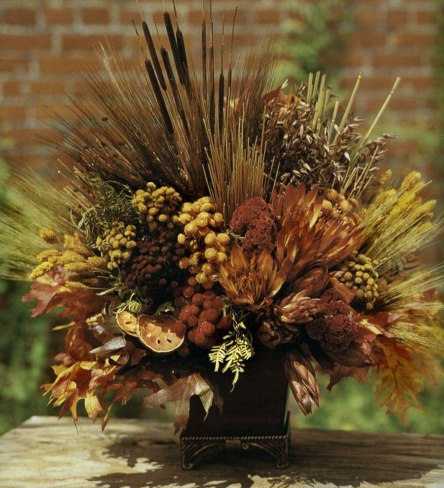 fall centerpiece dried flower arrangement knud nielsen. Black Bedroom Furniture Sets. Home Design Ideas
