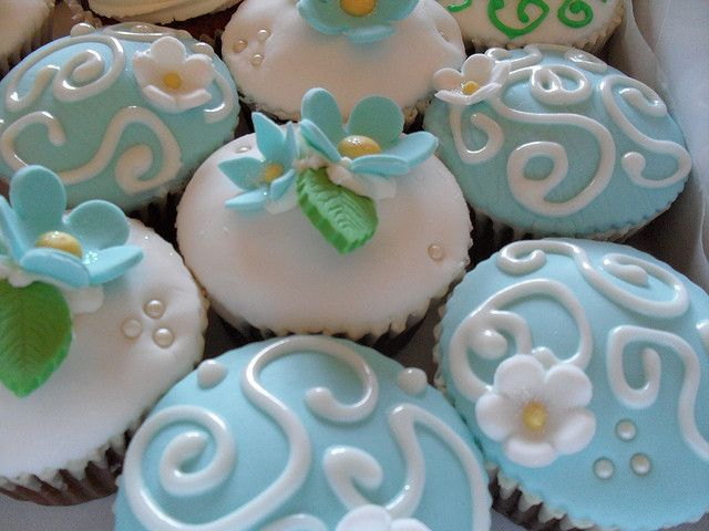 baby blue and green cupcakes by Whimsical Cupcakes, via Flickr
