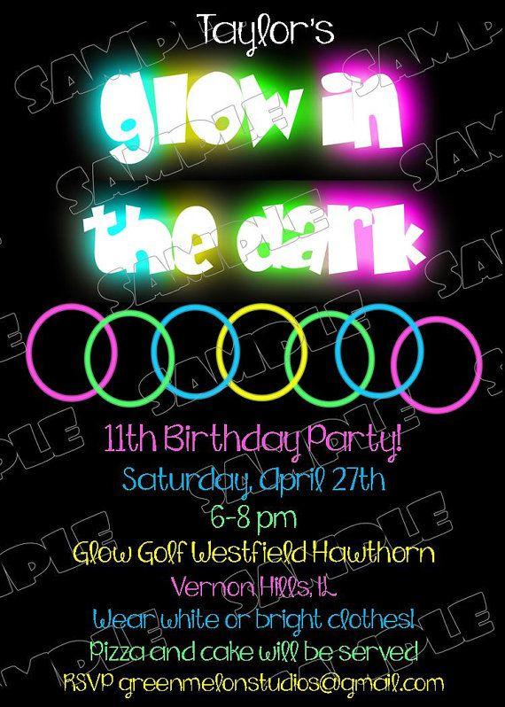 Glow in the dark invitations birthday party printable invitations