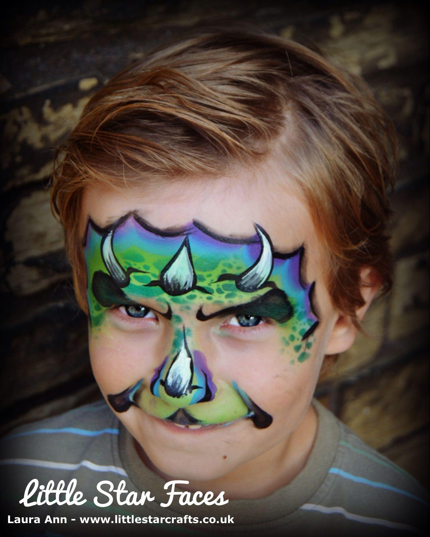 Little star faces Dinosaur  Face paint  Http://www.littlestarcrafts.co.uk