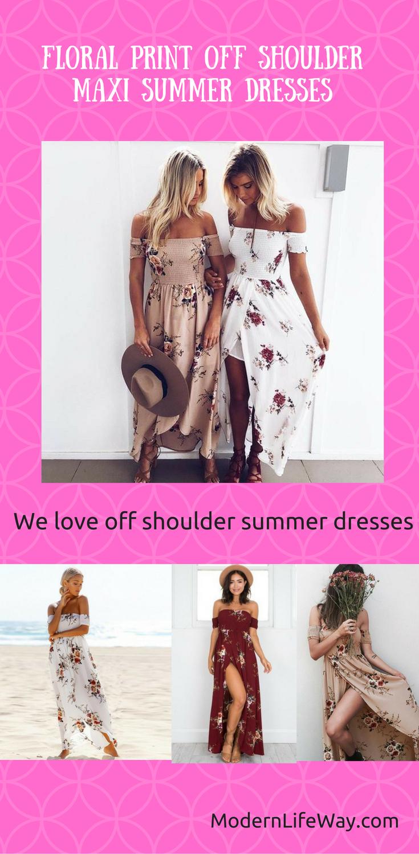 Floral print off shoulder summer maxi dresses summer maxi long