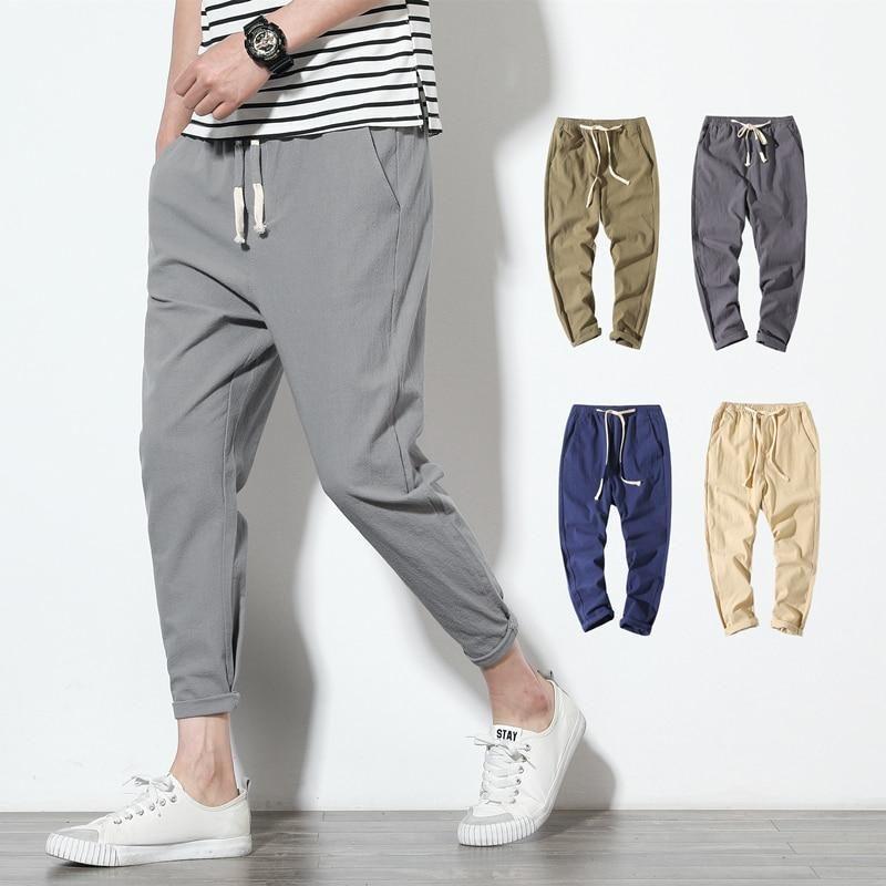 Men/'s Linen Pants Casual Trousers Cotton Joggers Elastic Waist Cotton trousers