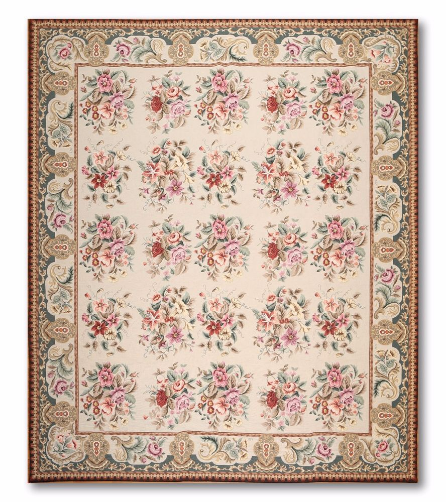 8x10 Stunning Handmade French Needlepoint Aubusson Area Rug Carpet Flat Pile New Aubusson Traditionaleuropean Rugs On Carpet Area Rugs Rugs