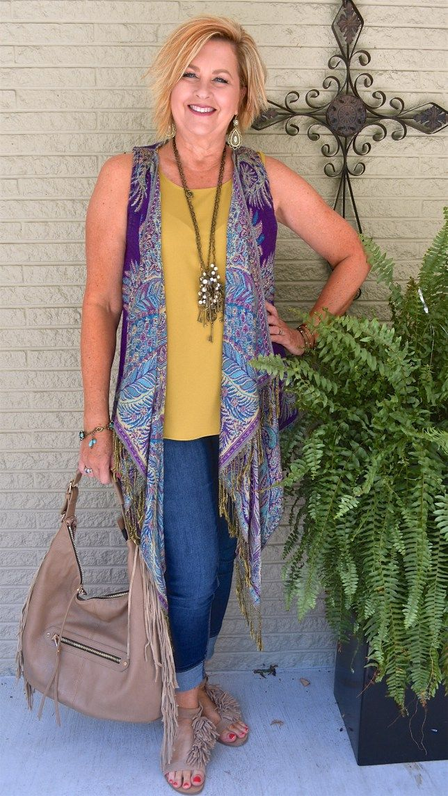 50 Is Not Old Boho Style Fringe And Bangles Purple