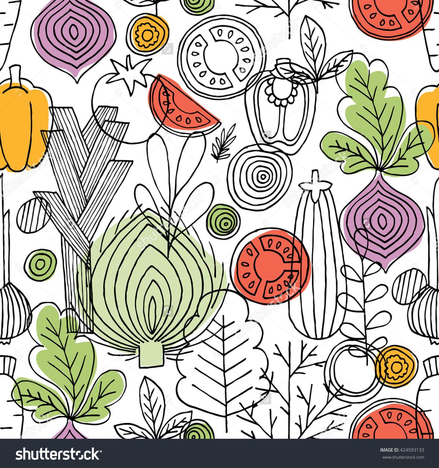 Vegetables Seamless Pattern Linear Graphic Background Electric Circuit Symbol Element Set Illustration Vectorielle Libre De Scandinavian Style Healthy Food Vector