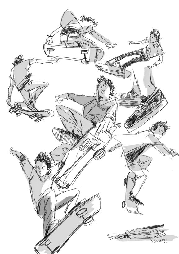 Amei Zhao Skateboarder Drawing Art Reference Poses Drawing