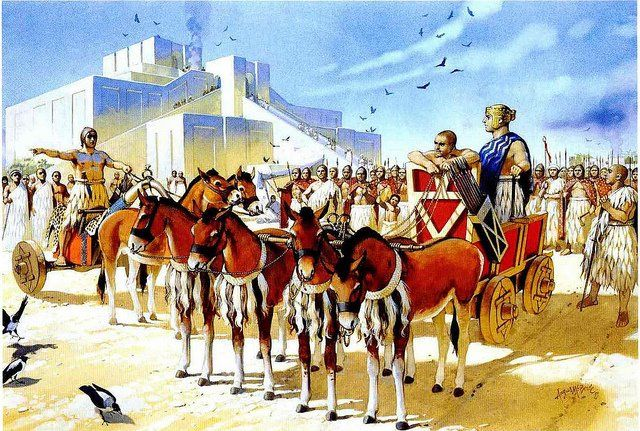 Illustration by Angus McBride showing the Ancient Sumerian Empire in Mesopotamia with the Great Ziggurat of Ur in the background.