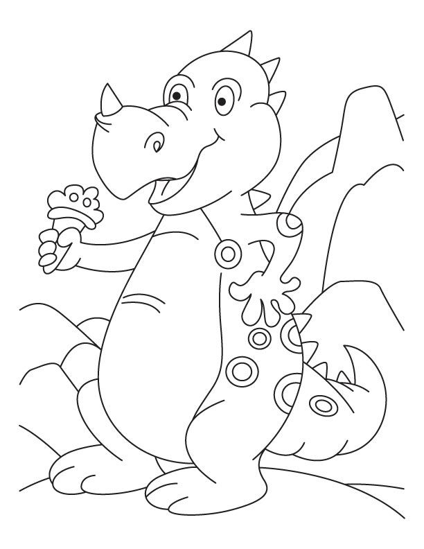 Rhinoceros Eating Ice Cream Coloring Pages