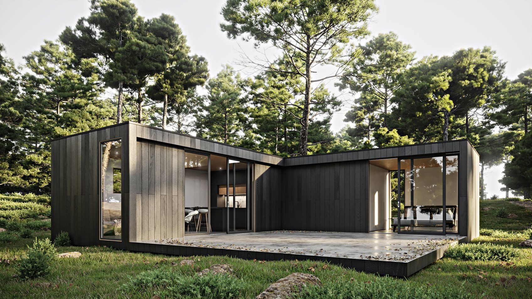 Nook Nz Nook Nz Transportable Homes Cabins Auckland House Shiplap Cladding Open Plan Living Room
