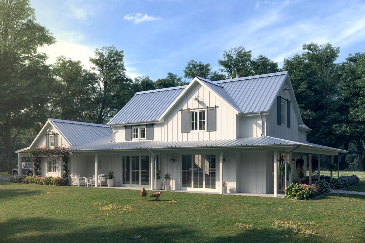 3Bed Modern Farmhouse with Wraparound Porch  871002NST  Architectural Designs  House Plans