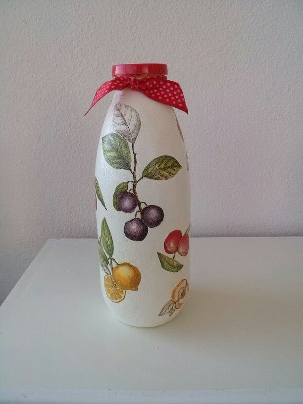 Cam Boyama Süt şişesinden Meyve Suyu şişesine Diycraft