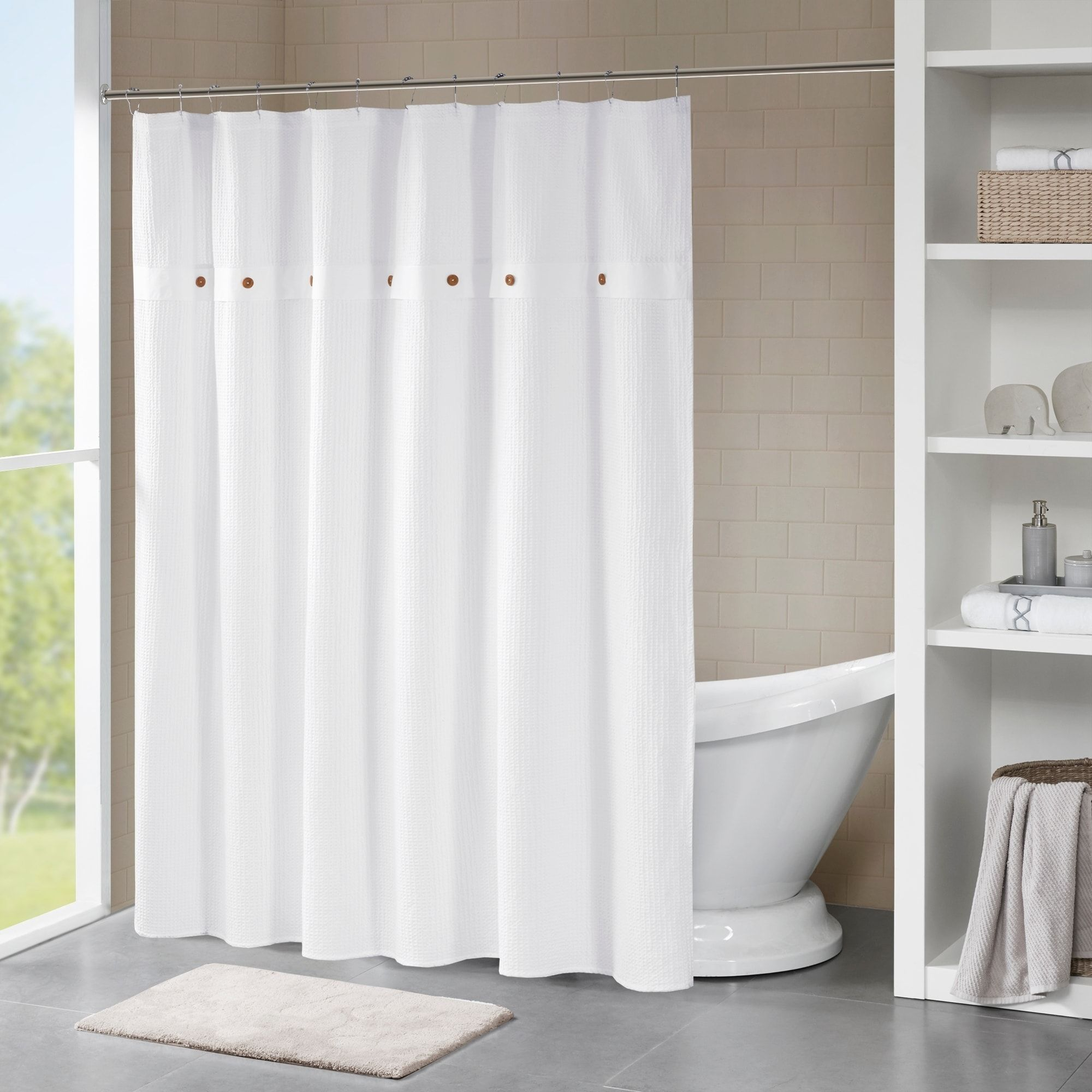 Madison Park Rianon Cotton Waffle Weave Shower Curtain In Navy As