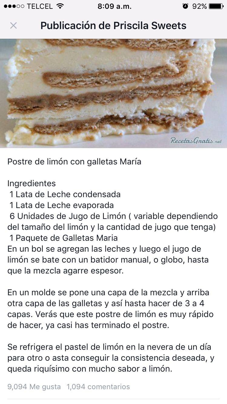 Postre Limón Galletas María Postres De Limón Comida Postre