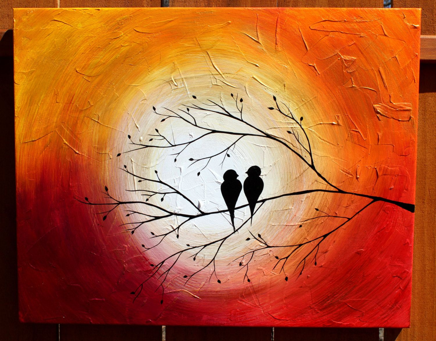 Love Birds on a Tree Limb in the Sunrise/Sunset: Acrylic Abstract Painting,  Red
