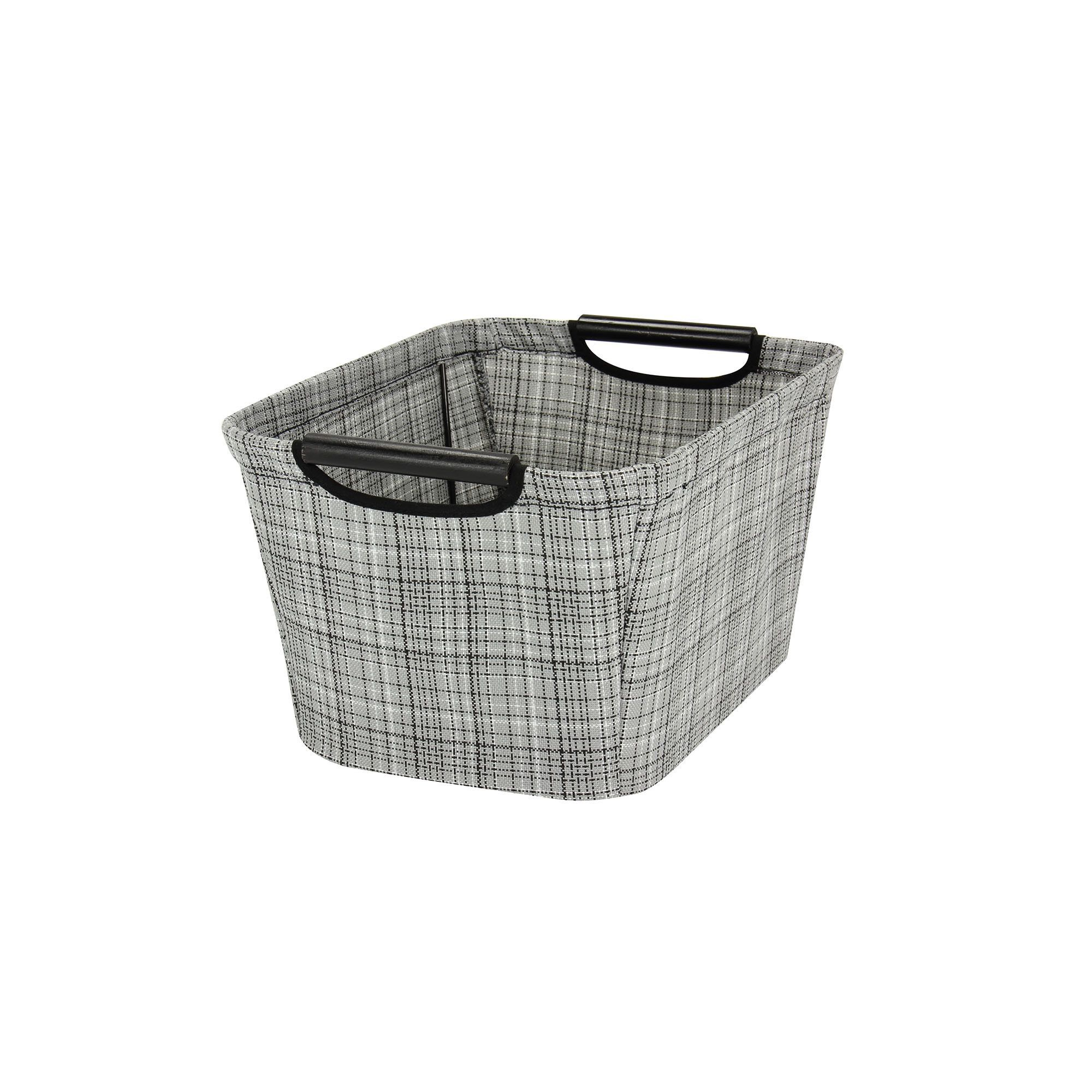 Small Tapered Storage Bin with Wood Handles, Gray plaid