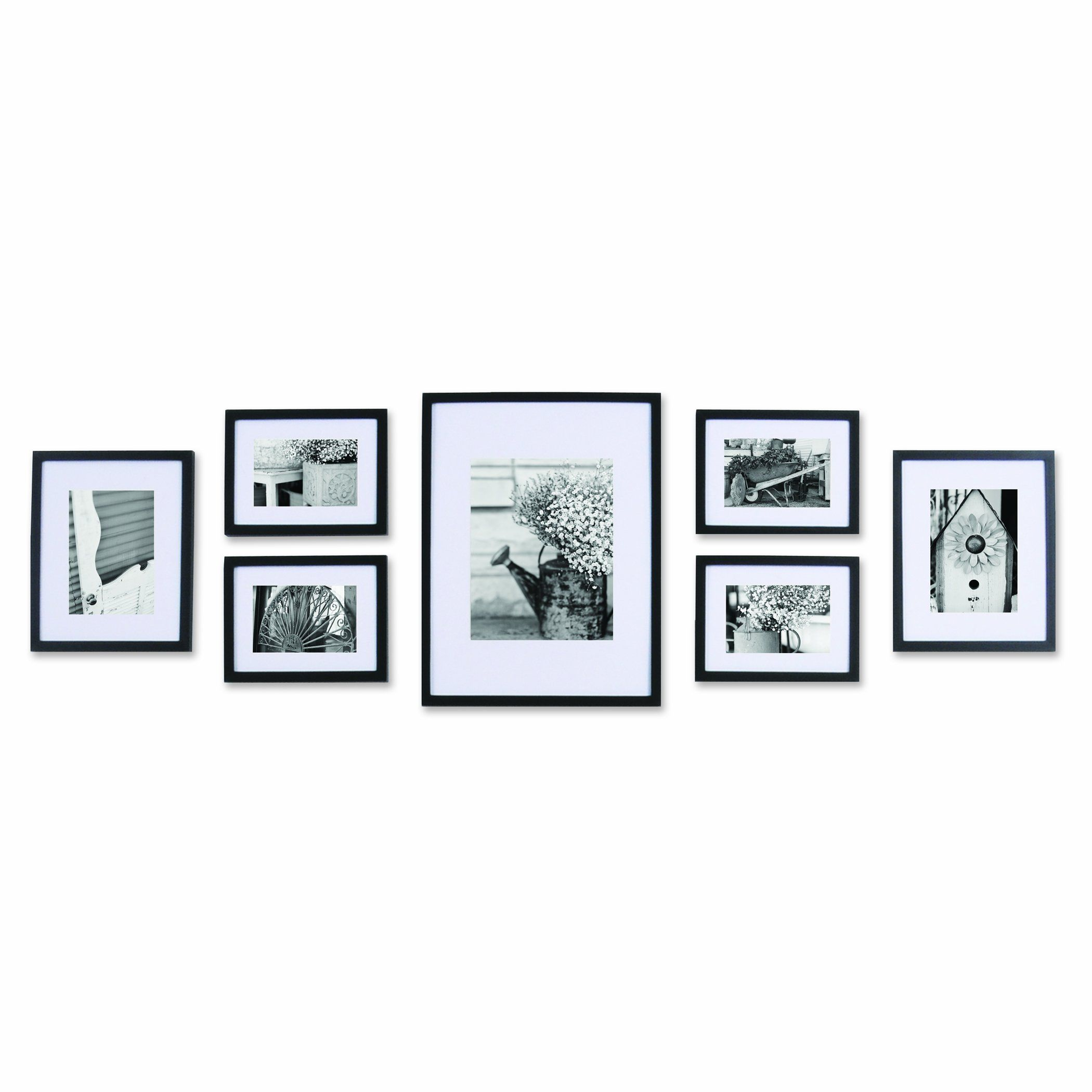 AmazonSmile - Pinnacle 11FW1443 Black 7-piece Solid Wood Wall Frame ...